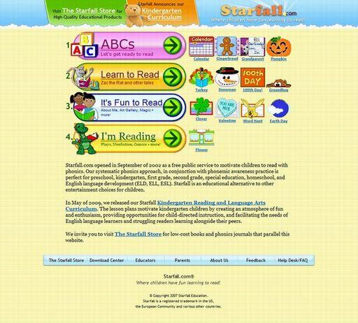 フォニックス無料サイト『starfall.com』